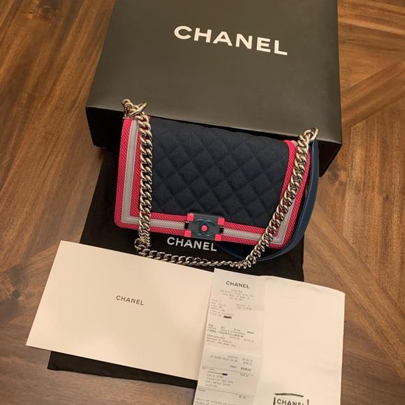 CHANEL Handbags - CHANEL Boy Medium Flou Dark Border Shoulder Bag